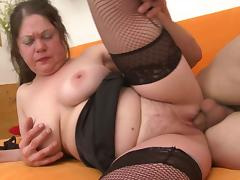 Chubby babe in stockings is totally ready for the roughest penetration