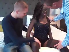 Ebony Takes On Two White Dicks in IR Threesome