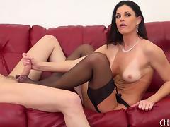 Flawless milf beauty in a lingerie set fucks the stud porn tube video
