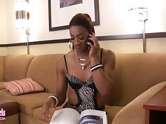 Kenya is a shemale who gets really horny when she sees a black cock porn tube video