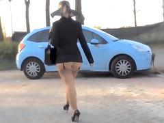Lady walk andexciting sexy upskirt.