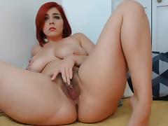 Hairy pussy dildo and fingers