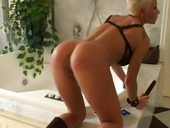 Short haired blonde slut in leather banged by two guys porn tube video
