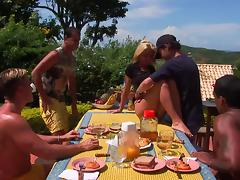 Gangbang at a picnic with a big titty blonde babe
