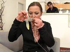 Glamorous office girl in glasses chokes on a big cock and gets nailed hardcore
