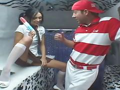 The ice cream man gives her a Popsicle then feeds her his cock porn tube video