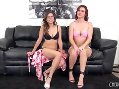 Leggy sapphic honeys in panties strip naked and have fun on webcam porn tube video