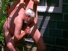 David and I getting down to some fun in the garden porn tube video