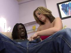 Experienced brunette enjoys her time with yet another black cock