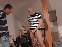 Pair of hung professionals are here to bonk Klarisa's sweet pussy! porn tube video