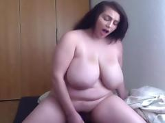 Sexy BBW rides then fingers on cam porn tube video