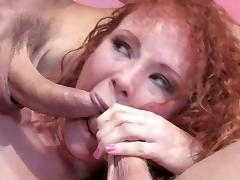 Curly hair redheaded whore pulls off a double anal penetration porn tube video
