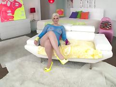 Pushing the rock-solid cock deep into blonde's anal tunnel