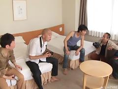 Spicy threesome with a Japanese chick in an arousing costume