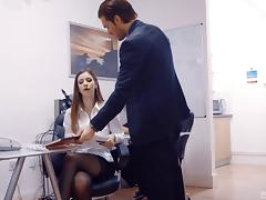 Brunette with juicy tits decides to do the dick riding in the office