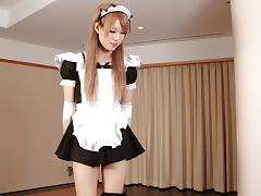 Maid costume looks great on this solo Japanese tranny tube porn video