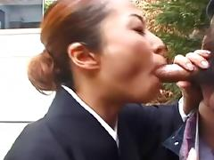 Delicious Japanese chick kneels down to receive the doggy drilling