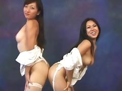 Heavenly brunette babes exposing their private parts together porn tube video