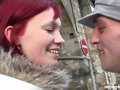 Redhead greedily drinks from a massive throbber and welcomes more via her cockpit