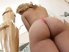 Bootylicious blonde is happy to sit down on her lover's sausage