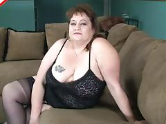 Chubby old lady goes down on a black dick with passion