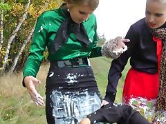Salacious wild party girls go wild in a outdoor ice cream fun