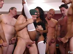 Sexy chocolate girl and the thick cocks of her muscular white friends