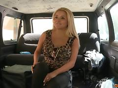 Filming a curvy blonde fucking in the back seat of a van