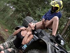 Two stunning lesbian chicks doing some pussy eating in the woods