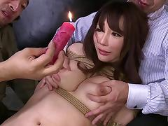 Haruka's tits are getting some hot wax and her pussy a thick dick