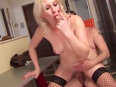 Blonde melts in bliss as she savors a rough doggystyle bang by an elderly hubby porn tube video