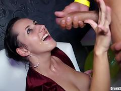 Impressively hot babes enjoy sucking and getting fucking by thick cocks in the club