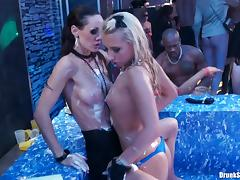 Pretty blondes enjoyed themselves to the fullest with sex in a party hardcore.