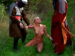 Soldiers and a skinny blonde have a threesome in the grass tube porn video