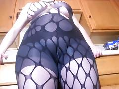 Spandex Angel - Sexy black fishnet bodysuit porn tube video