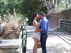 Girl in a short sundress makes love to a big cock guy