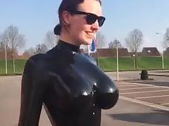 Big tits in shiny latex catsuit