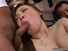 Tight pussy hammering in a spectacular threesome fuck