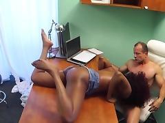 Redhead ebony fucks doctor in his office tube porn video