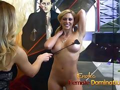 Lusty slut has some kinky fun with a horny couple