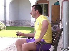 Oldman doing son's gf outside porn tube video