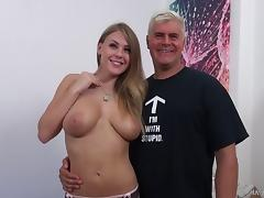 Big-boobed chick with a pretty face lets Dan penetrate her pussy
