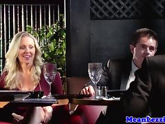 Milf fingers ass and pussy during dinner porn tube video