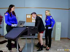 Pair of uniformed ladies letting the guy penetrate their sweet pussies tube porn video