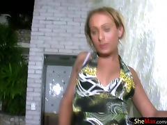 Feminine shemale slips out of zebra lingerie and wanks off