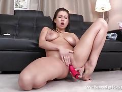 Racy brunette masturbating
