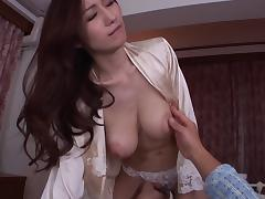 Perfect big natural Asian breasts on a sexy cock rider porn tube video