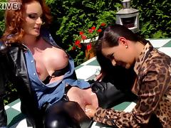 Two very elegant lesbian babes having an outdoors fingering session porn tube video