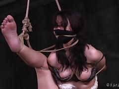 Cutie in a skirt tied up by her horny black master porn tube video