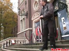 Dutch hooker tugging tourits cock